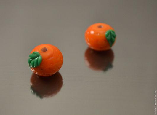 Для украшений ручной работы. Ярмарка Мастеров - ручная работа. Купить Апельсин бусина лампворк лэмпворк. Handmade. Лампворк