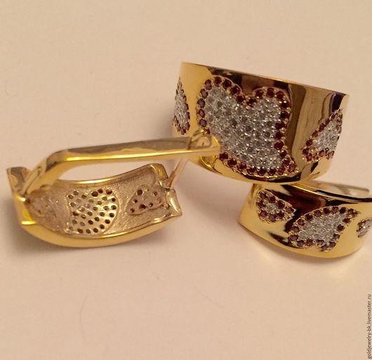 Комплекты украшений ручной работы. Ярмарка Мастеров - ручная работа. Купить Серебряный Комплект кольцо серьги  925 пробы 18K позолота Сердце Любви. Handmade.