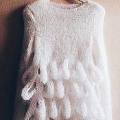 Одежда ручной работы. Ярмарка Мастеров - ручная работа Свитер-туника из мохера (лебедь). Handmade.