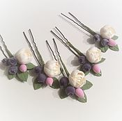 Свадебный салон ручной работы. Ярмарка Мастеров - ручная работа Свадебные шпильки с пионами и ягодами из полимерной глины. Handmade.