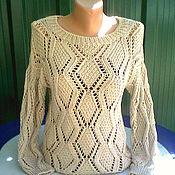 Одежда ручной работы. Ярмарка Мастеров - ручная работа Пуловер из хлопка Нежность оливки. Handmade.