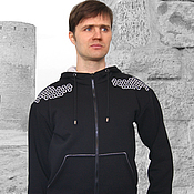 Одежда handmade. Livemaster - original item Men`s sweatshirt with a chain mail pattern, black hoodie with a dragon. Handmade.