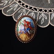 Винтаж handmade. Livemaster - original item Vintage brooch from Limoges, porcelain, brass. Handmade.
