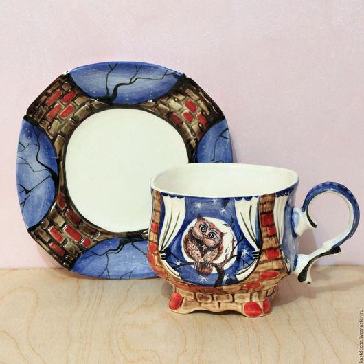 """Сервизы, чайные пары ручной работы. Ярмарка Мастеров - ручная работа. Купить Чайная пара фарфоровая  """"Ночь.Совушка Мама"""". Handmade."""