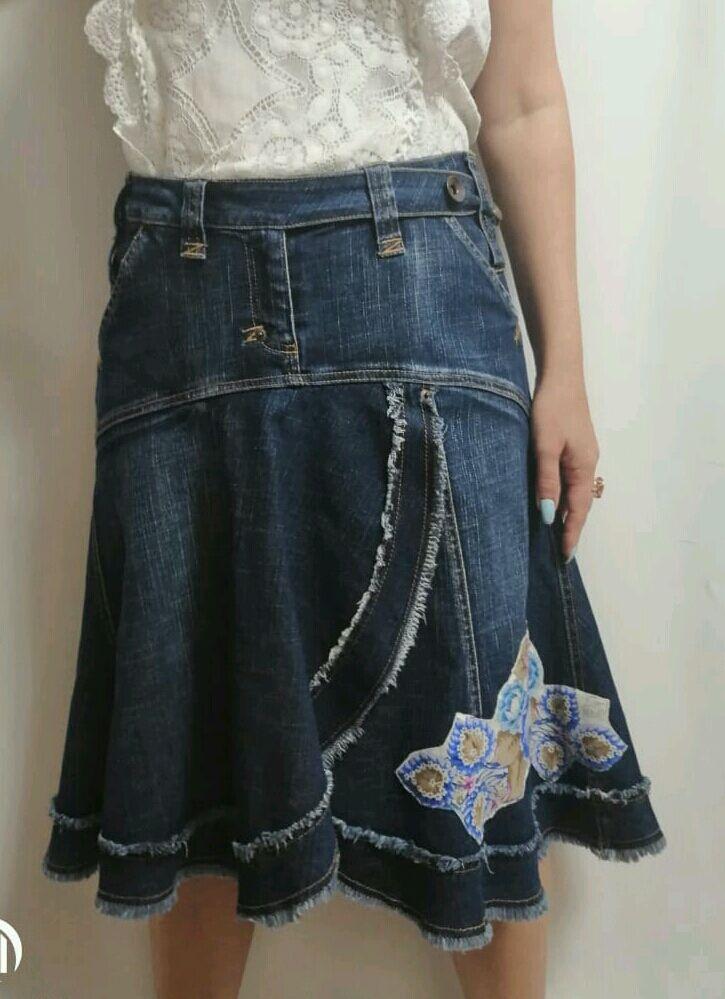 Юбка джинсовая., Винтажная джинсовая юбка, Юбки, Орехово-Зуево, Фото №1