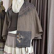 Одежда ручной работы. Ярмарка Мастеров - ручная работа Жакет -пелерина c льняной  юбкой многоярусной. Стиль бохо. Handmade.