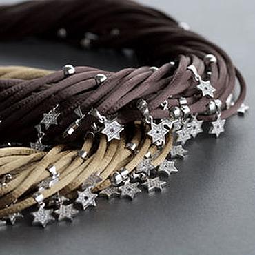 Украшения ручной работы. Ярмарка Мастеров - ручная работа Колье с шестиконечными звездами из серебра и шёлка. Handmade.