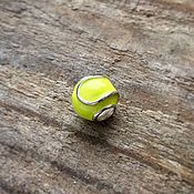 Украшения handmade. Livemaster - original item The tennis ball charm is silver with enamel. Handmade.