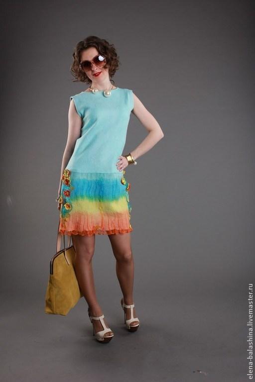 """Платья ручной работы. Ярмарка Мастеров - ручная работа. Купить Платье валяное """"ВЕСНА"""". Handmade. Голубой, платье, платье коктейльное"""