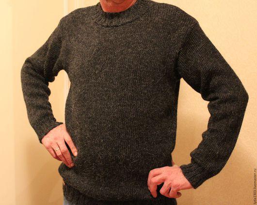 Для мужчин, ручной работы. Ярмарка Мастеров - ручная работа. Купить Пуловер ЧЕРНЫЙ из альпаки. Handmade. Черный, альпака