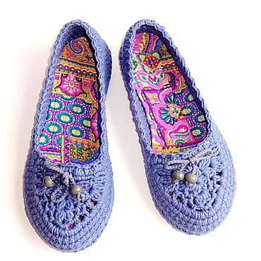 Обувь ручной работы. Ярмарка Мастеров - ручная работа Балетки вязаные Helen, сиреневый хлопок. Handmade.