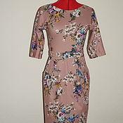 Одежда ручной работы. Ярмарка Мастеров - ручная работа Платье из трикотажа бежевое в цветочек. Handmade.