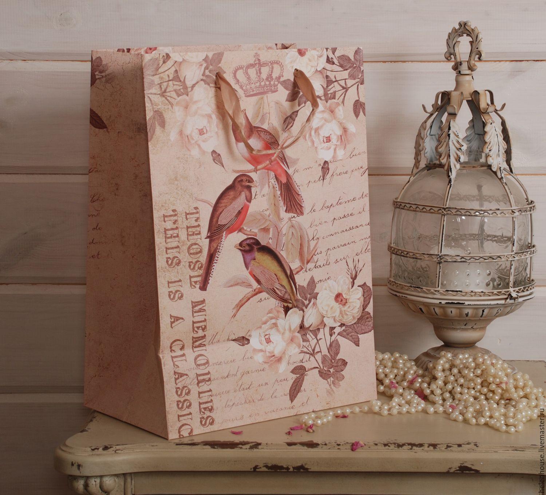 """Бумажный пакет  """"Птицы беж"""" с широким дном!, Пакеты, Москва, Фото №1"""