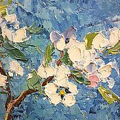 """Картины и панно ручной работы. Ярмарка Мастеров - ручная работа Картина маслом """"Белые цветы"""" в рамке. Handmade."""