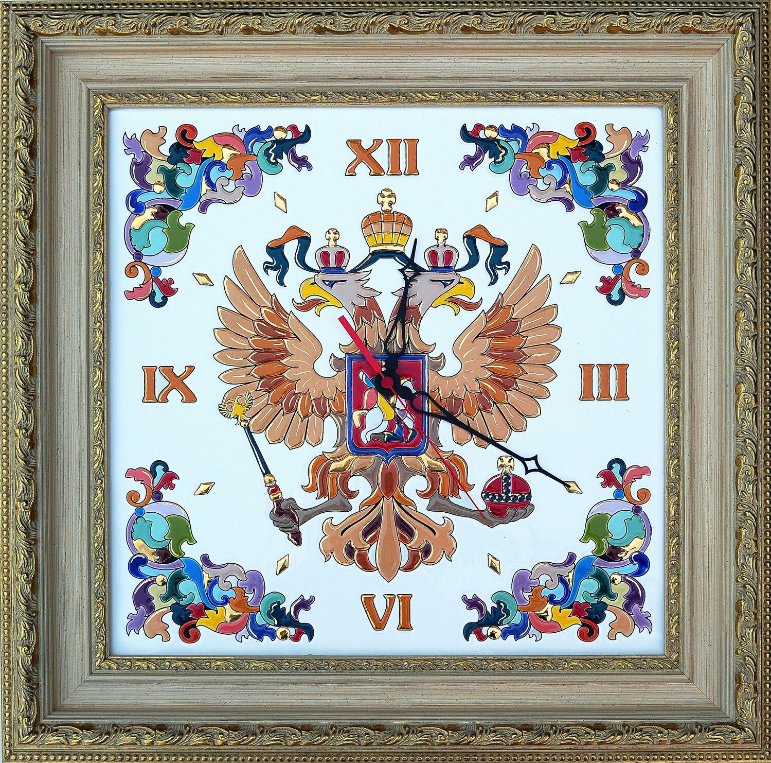 Wall Clock With Symbols Of Russia Decorativeceramic Coat Shop