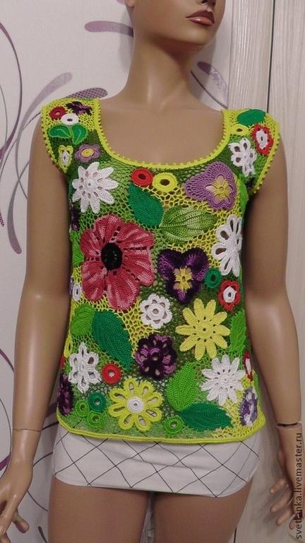 """Топы ручной работы. Ярмарка Мастеров - ручная работа. Купить Топ """"ЛЕТО"""". Handmade. Разноцветный, блуза, женская одежда вязаная"""