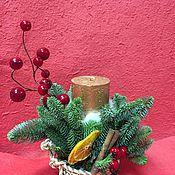 Подарки к праздникам ручной работы. Ярмарка Мастеров - ручная работа Подсвечник из натуральной ели. Handmade.