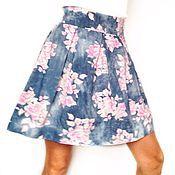 Одежда handmade. Livemaster - original item Designer pleated skirt with floral print. Handmade.