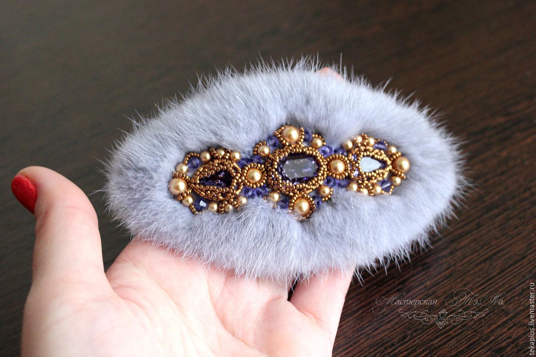 Barrette automatic of mink fur barrette hair barrette, Hairpins, Bratsk,  Фото №1