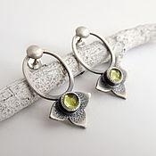 Украшения handmade. Livemaster - original item silver drop earrings with chrysolite (silver, peridot natural). Handmade.