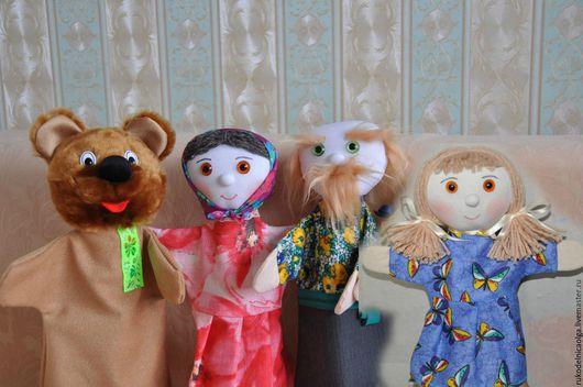 """Кукольный театр ручной работы. Ярмарка Мастеров - ручная работа. Купить Сказка """"Машенька и Медведь"""" Кукольный театр на руку. Handmade."""