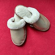 Обувь ручной работы handmade. Livemaster - original item Slippers made of mother-of-pearl leather on fur (Mouton). Handmade.