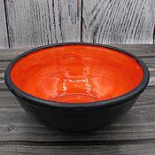 Посуда handmade. Livemaster - original item Anthracite-orange salad bowl. Handmade.