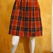 Одежда ручной работы. Ярмарка Мастеров - ручная работа Юбка в клетку красная шотландка выше колена. Handmade.