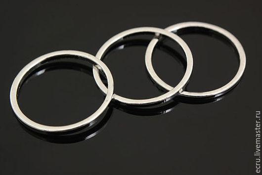 Коннектор кольцо 16 мм, родиевое покрытие, фурнитура Южная Корея
