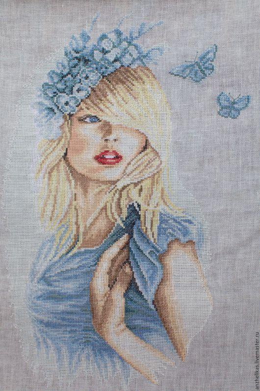 Люди, ручной работы. Ярмарка Мастеров - ручная работа. Купить Синие бабочки. Handmade. Вышивка ручная, Вышитая картина