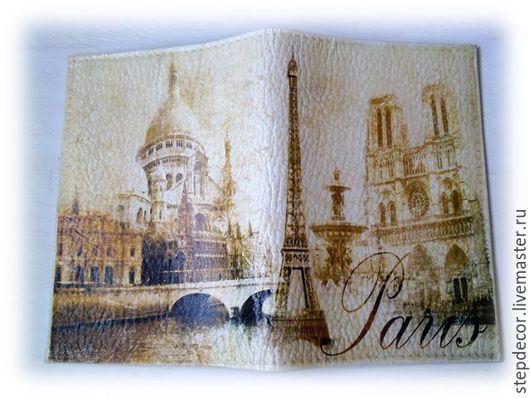 """Обложки ручной работы. Ярмарка Мастеров - ручная работа. Купить Кожаная обложка на паспорт """"Путешествие в Париж"""". Handmade. Бежевый"""
