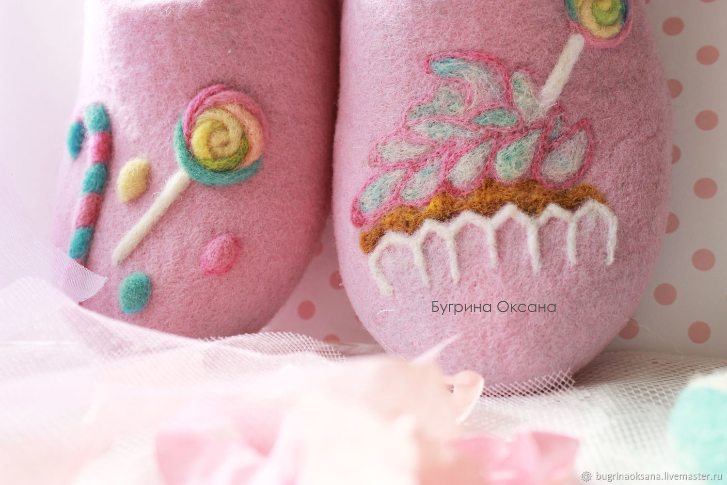 'Sweets. Cupcake and lollipops ' felted Slippers AVAILABLE, Slippers, St. Petersburg,  Фото №1