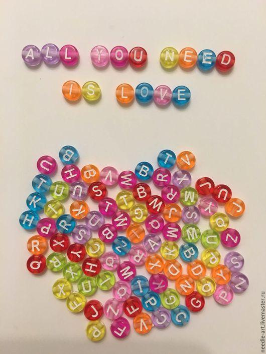 Для украшений ручной работы. Ярмарка Мастеров - ручная работа. Купить Бусины-буквы круглые пластиковые. Handmade. Комбинированный