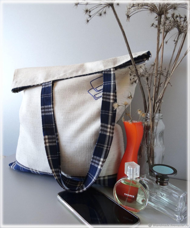 """Эко-сумка """"Синее лето"""" - ручная вышивка, авоська, льняная сумка"""