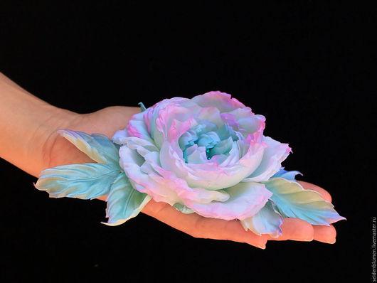 Цветы ручной работы. Ярмарка Мастеров - ручная работа. Купить Роза Бирюза из шелка. Handmade. Белый, шелковый цветок, бирюзовый
