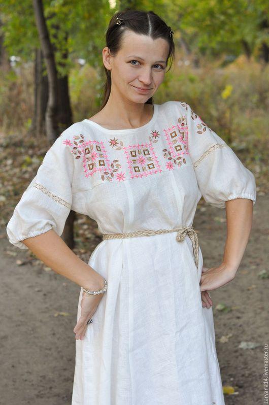 """Платья ручной работы. Ярмарка Мастеров - ручная работа. Купить Вышитое платье """"Розовый орнамент"""". Handmade. Белый, длинное платье"""