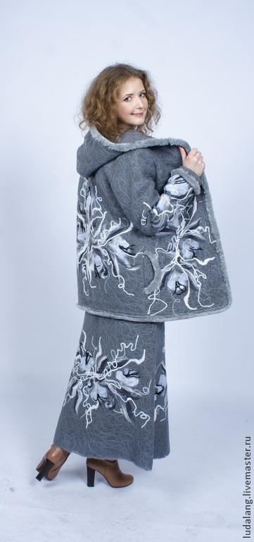 """Верхняя одежда ручной работы. Ярмарка Мастеров - ручная работа. Купить Теплая куртка и юбка  """"Пятьдесят оттенков серого"""". Handmade."""