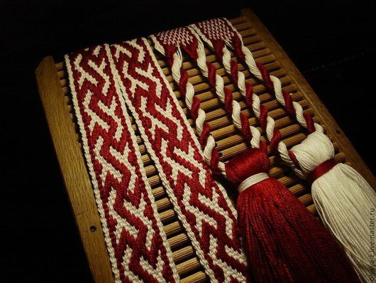 """Одежда ручной работы. Ярмарка Мастеров - ручная работа. Купить Пояс  """"Инглия"""" бело- бордовый. Handmade. Ткачество на бердо"""
