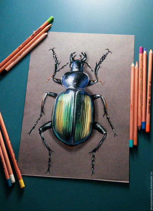 """Животные ручной работы. Ярмарка Мастеров - ручная работа. Купить Картина пастелью """"Яркий жук"""". Handmade. Комбинированный, жук, насекомое"""