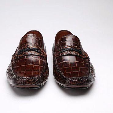 Обувь ручной работы. Ярмарка Мастеров - ручная работа Мокасины из кожи крокодила, в коричневом цвете, ручная работа.. Handmade.