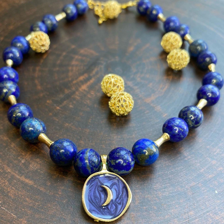Ожерелье «Луна» из Дюмортьерита, Колье, Самара,  Фото №1