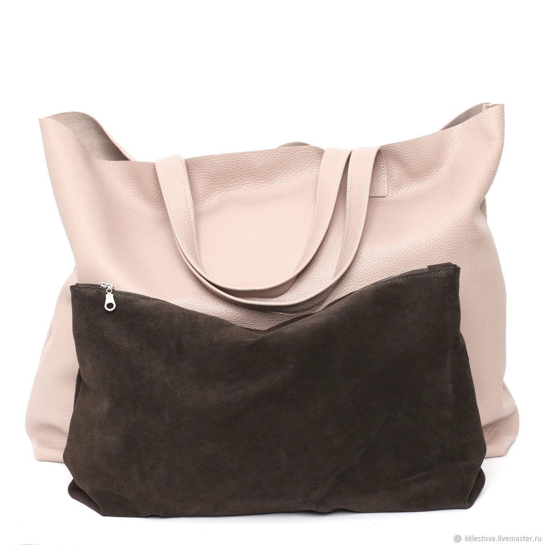 Handbags handmade. Livemaster - handmade. Buy 2 in 1 Ashes Rose Huge oversize Shopper Tote Bag Package.
