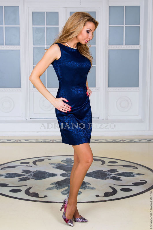 """Платья ручной работы. Ярмарка Мастеров - ручная работа. Купить Платье """"Каприз"""" из плотного шёлка. Handmade. Тёмно-синий"""