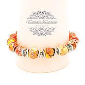 Украшения ручной работы. Ярмарка Мастеров - ручная работа Удобный браслет из оранжевого варисцита на резинке. Handmade.