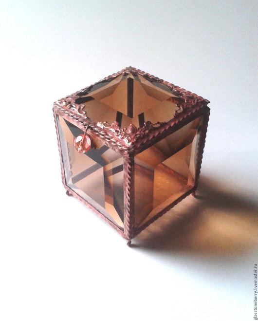 Дымчатый топаз. Стеклянная шкатулка для обручальных колец. Свадебные аксессуары. Витражное стекло, техника Тиффани