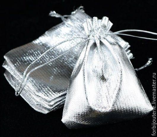 095 Подарочный мешочек `Серебристый` из органзы со шнурком. Для украшений.