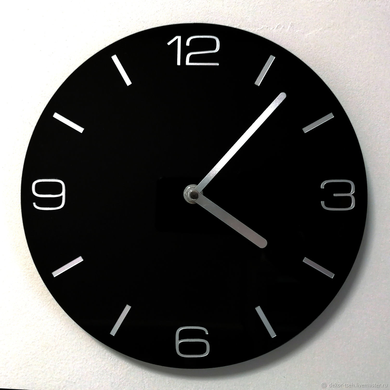 Round wall clock black, Watch, Chelyabinsk,  Фото №1