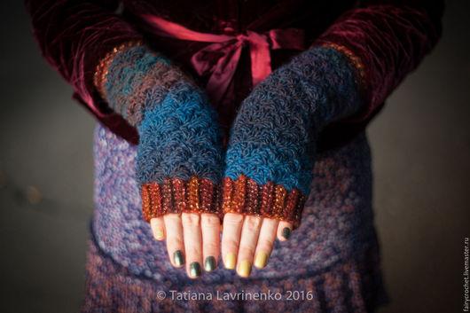 Варежки, митенки, перчатки ручной работы. Ярмарка Мастеров - ручная работа. Купить Митенки синие. Handmade. Тёмно-синий