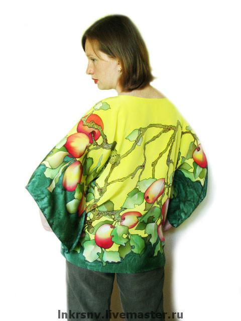 """Блузки ручной работы. Ярмарка Мастеров - ручная работа. Купить Блуза """"Яблоня"""". Handmade. Блузка, яблоки, блузка из шелка"""