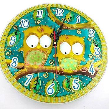 Для дома и интерьера ручной работы. Ярмарка Мастеров - ручная работа Часы: витражные Совята 25 см. Handmade.